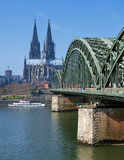 View on Cologne Cathedral and Hohenzollern Bridge Stock Photography