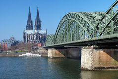 View on Cologne Cathedral and Hohenzollern Bridge. Over the Rhine river, Germany Stock Photography