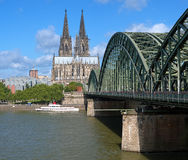 View on Cologne Cathedral and Hohenzollern Bridge. Over the Rhine river, Germany Royalty Free Stock Photography