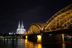 View on Cologne Cathedral and Hohenzollern Bridge, Germany Stock Image