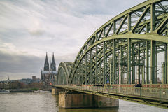 View on Cologne Cathedral and Hohenzollern Bridge over the Rhine river, Stock Photography