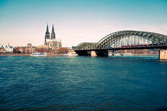 View on Cologne Cathedral and river Rhine Stock Photography