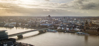 View of Cologne, Germany across Rhine with Great St. Martin church Royalty Free Stock Photo