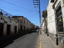 View of the colonial downtown, Arequipa, Peru. View of the colonial downtown, on July 20, 2015 in Arequipa, Peru royalty free stock photos