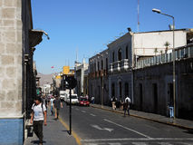 View of the colonial downtown, Arequipa, Peru. View of the colonial downtown, on July 20, 2015 in Arequipa, Peru stock photography