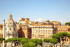 View of colonna Traiana and Basilica Ulpia in Forum of Trajan Royalty Free Stock Images