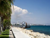 View of the colonnade along the sea, Limassol, Cyprus royalty free stock image