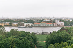 View from the colonnade of St.Isaac`s Cathedral - largest Russian Orthodox cathedral or sobor. In St. Petersburg Stock Image