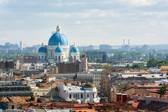 View from the colonnade of St. Isaacs Cathedral. Trinity Cathed Royalty Free Stock Image