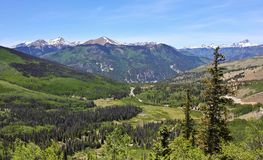 A View of Colorado State Highway 149 Through the San Juan Mountains stock images