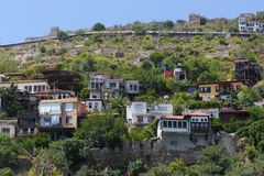 View of the colored houses on the hill among the greenery. Royalty Free Stock Photos