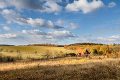 View of colorful autumnal rural landscape Stock Photos
