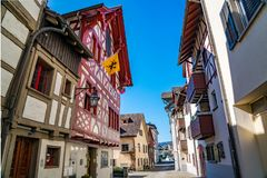View of colorful building along the street at historic town Stein Am Rhein. In Switzerland stock photos