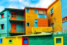 View of the colorful building in the city center, Buenos Aires, Argentina.  stock photo