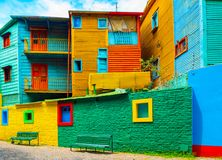 View of the colorful building in the city center, Buenos Aires, Argentina.  royalty free stock image