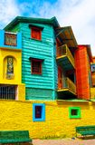 View of the colorful building in the city center, Buenos Aires, Argentina. Vertical.  stock photography