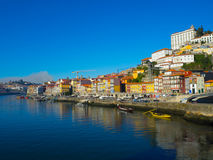 A view of colorful buildings in Ribeira, Porto, Portugal Royalty Free Stock Photo