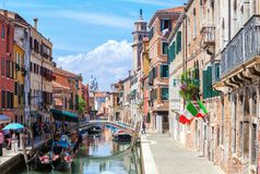 View of colorful canal in Venice at sunny morning, Italy Royalty Free Stock Photos