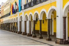 Colorful colonial buildings on Plaza Colon in cochabamba royalty free stock photo