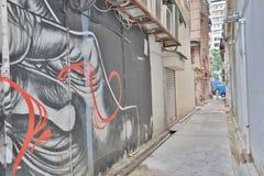 the view of colorful graffiti artwork at hk stock photos