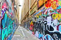 View of colorful graffiti artwork in Melbourne Royalty Free Stock Images
