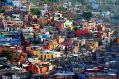 View at the colorful houses of Guanajuato, Mexiko stock images