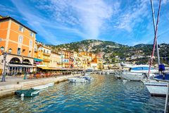 Cityscape with yachts and colorful houses in village of Villefra stock photography