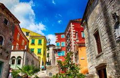 View of colorful houses in town Labin, Istria, Croatia. There is blue sky in the background royalty free stock images