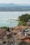View of colorful old building in Sirmione and Lake Garda from Scaliger castle wall,. Italy stock images