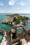 View of colorful old buildings in Sirmione and Lake Garda from Scaliger castle wall, Royalty Free Stock Photos