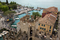 View of colorful old buildings in Sirmione and Lake Garda from Scaliger castle wall, Stock Photos