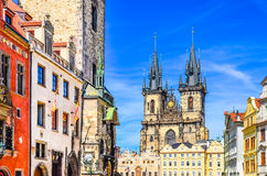 View of colorful Old town and clock tower in Prague Stock Photo