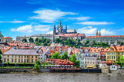 View of colorful old town and Prague castle Stock Photography
