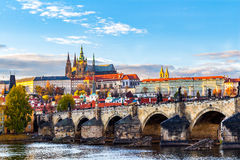 View of colorful old town and Prague castle with river Vltava, Czech Republic Royalty Free Stock Photography