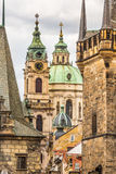 View of colorful old town in Prague taken from Charles bridge, Czech Republic Stock Photos