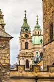 View of colorful old town in Prague taken from Charles bridge, Czech Republic Stock Images