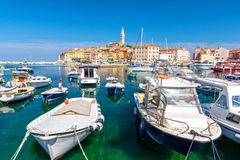 View on colorful port of Rovinj, Istria region, Croatia stock photo