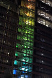 View of colorful staircase of office building at night. View of multi colored stairway of new office building stock image