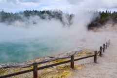 Wai-O-Tapu Thermal Wonderland New Zealand. View of colorful steaming volcanic Champagne pool in geothermal Wai-O-Tapu wonderland in Rotorua, North Island, New stock images