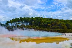 Wai-O-Tapu Thermal Wonderland New Zealand. View of colorful steaming volcanic Champagne pool in geothermal Wai-O-Tapu wonderland in Rotorua, North Island, New stock photo