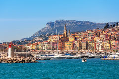 View of colorful town of Menton. Stock Photo