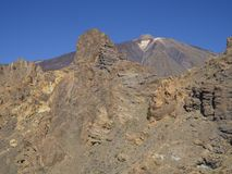 View on colorful volcano pico del teide highest spanish mountain. From famous pitoresque rock formation Roques de Garcia with clear blue sky Stock Image