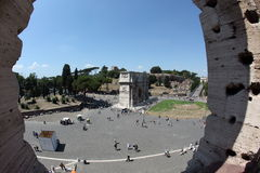 View from Colosseum. Rome, Forum Romanum - Constanitine's Arch seen from Colosseum Royalty Free Stock Image