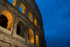 Colosseum at night background stock photos