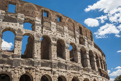 View of Colosseum in Rome with blue sky Italy, Europe. Stock Photo