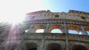 Pan shot on the colosseum, Rome Italy. View on the colosseum, Rome Italy stock footage