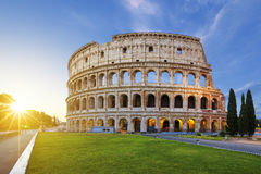 View of Colosseum in Rome at sunrise stock images