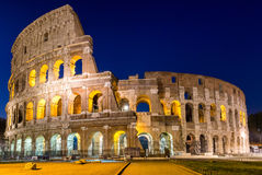 View of Colosseum in Rome at sunrise, Italy, Europe.  Stock Photo