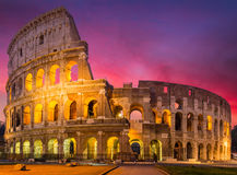 View of Colosseum in Rome at sunrise, Italy, Europe.  Royalty Free Stock Photography