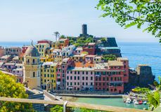 View of colourful buildings on cliff in Vernazza town, Cinque Terre Royalty Free Stock Photo